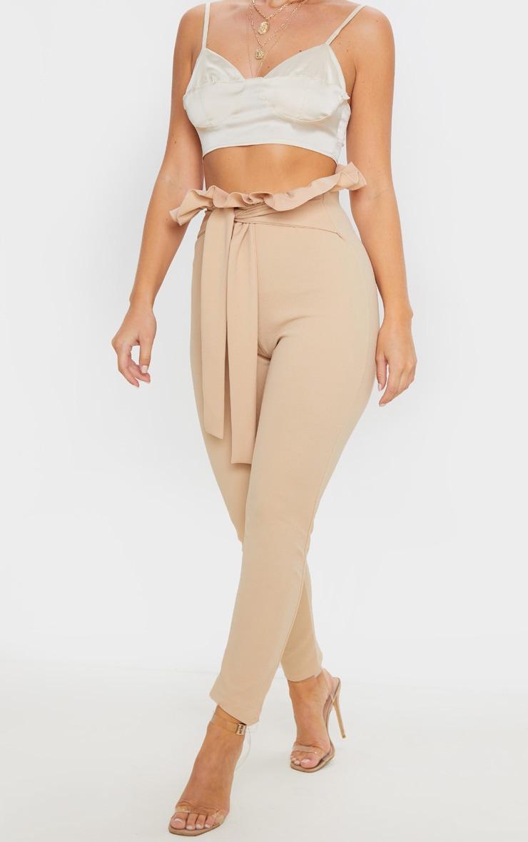 Taupe Paperbag Skinny Pants  2