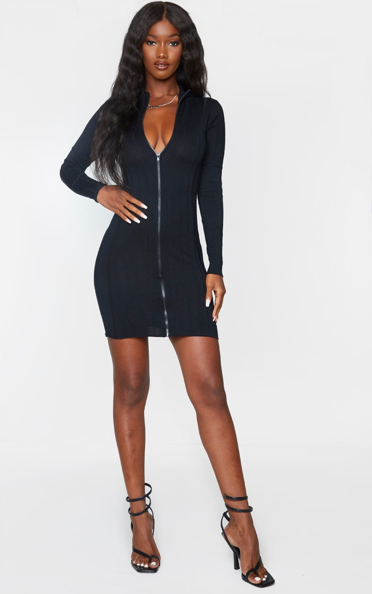 Black Ribbed Zipped Knitted Mini Dress 3