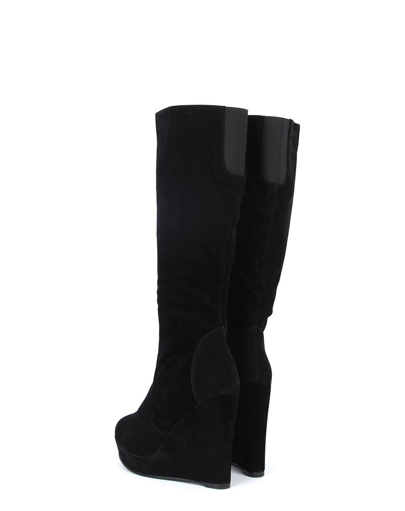 Black Suede Wedge Boot 3