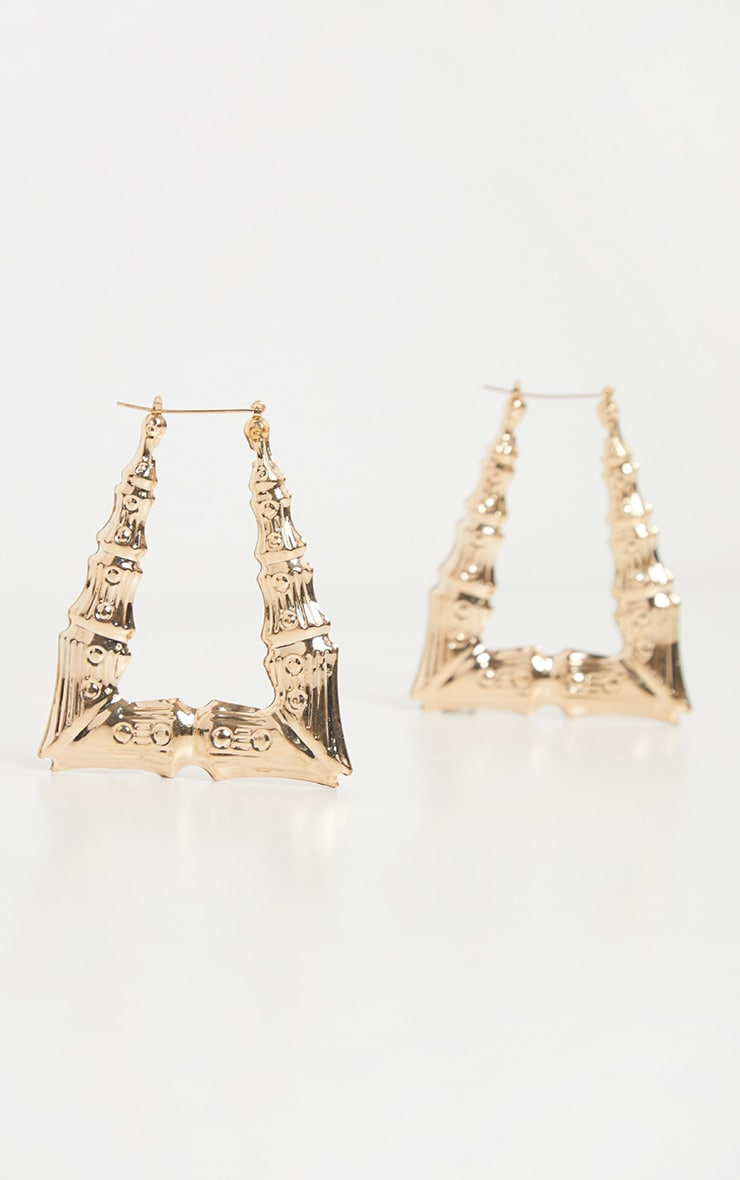 Gold Oversized Bamboo Angular Hoop Earring 2