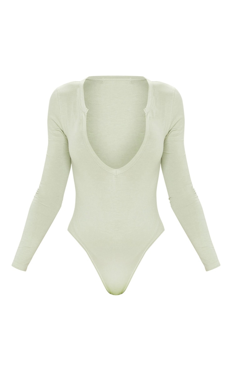 Basic Sage Khaki  Plunge Long Sleeve Bodysuit 3