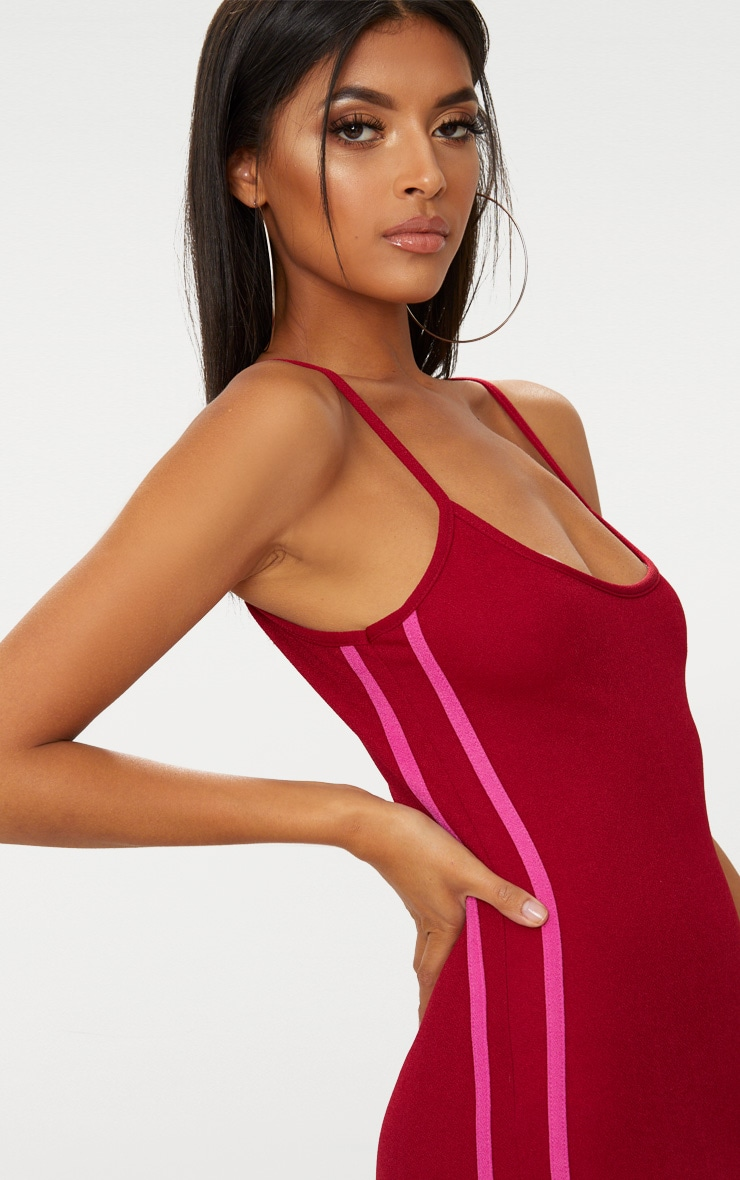 Burgundy Strappy Sports Stripe Bodycon Dress 5
