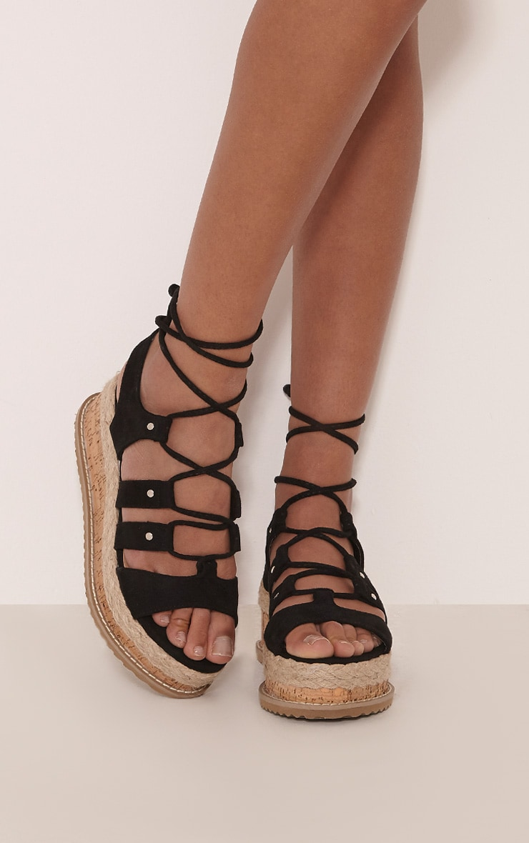 Adelina Black Lace Up Flatform Sandals 1