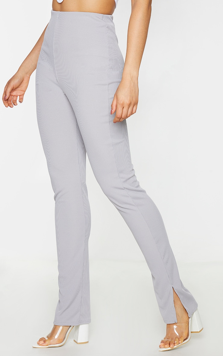 Tall Grey Ribbed Skinny Split Hem Trouser 2