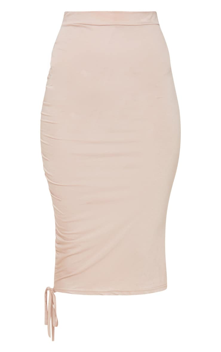 Stone Jersey Ruched Side Detail Midi Skirt  3