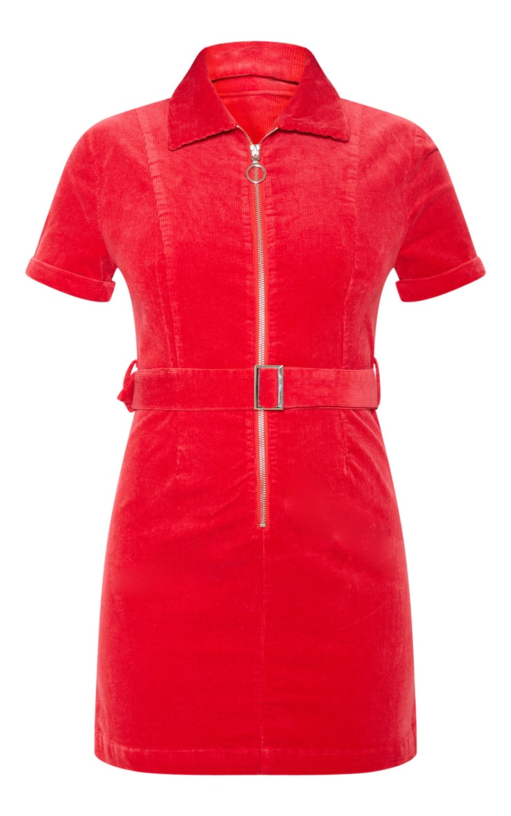 Red Cord Zip Front Belted Dress 3