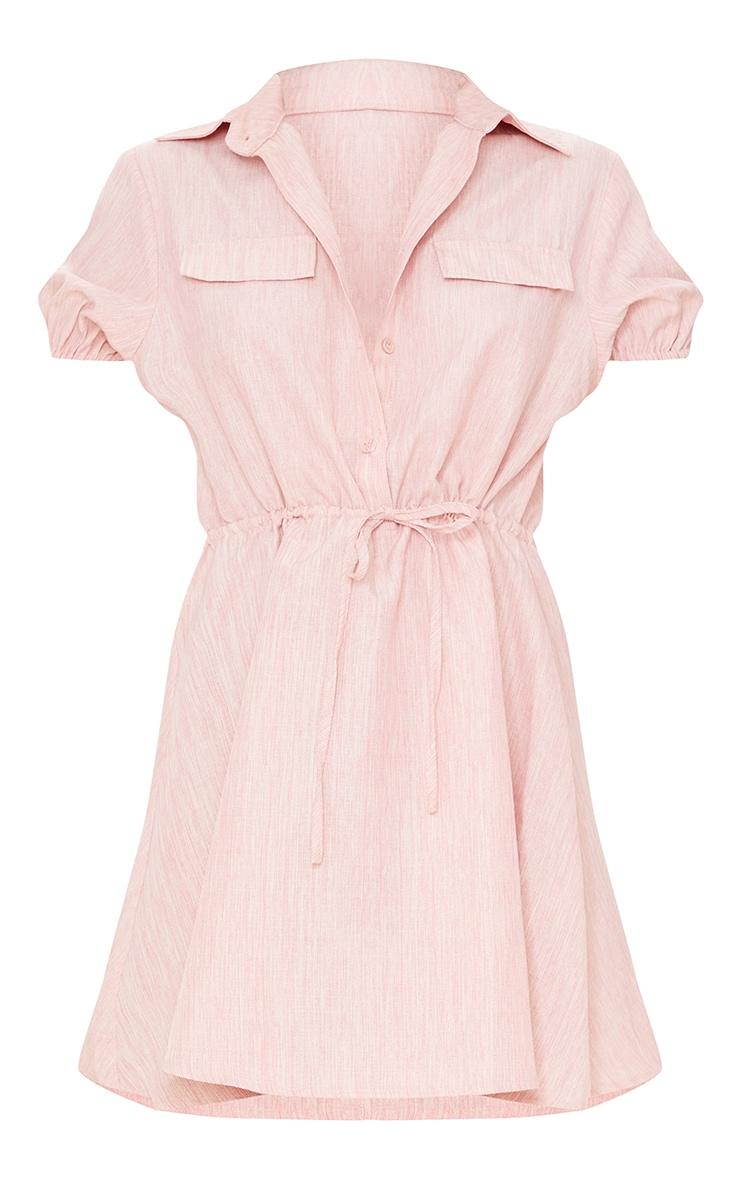 Pink Linen Look Tie Waist Puff Sleeve Shift Dress 5