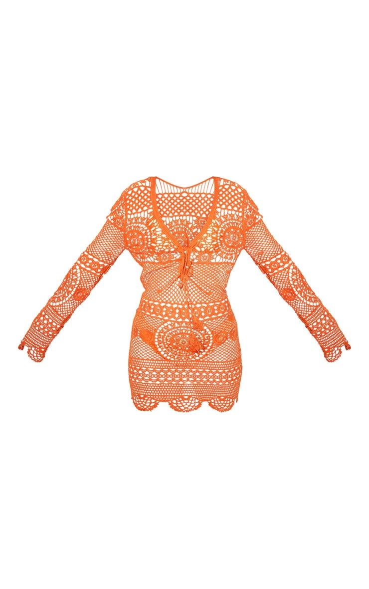 Petite Rust Crochet Cotton Dress 3