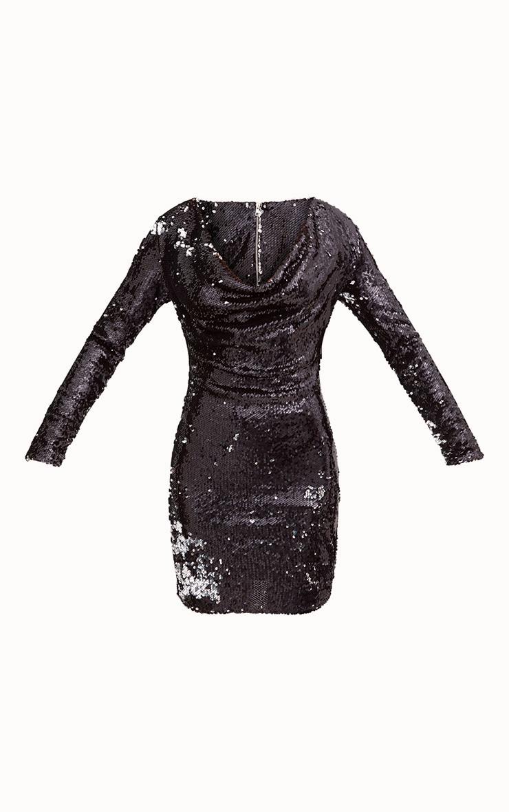 Black Sequin Long Sleeve Cowl Neck Bodycon Dress 3