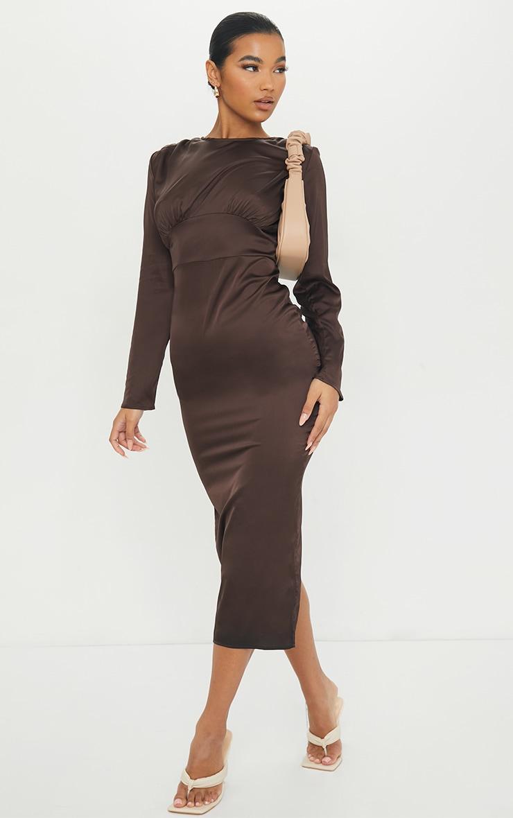 Chocolate Satin Long Sleeve Bust Seam Midi Dress 3