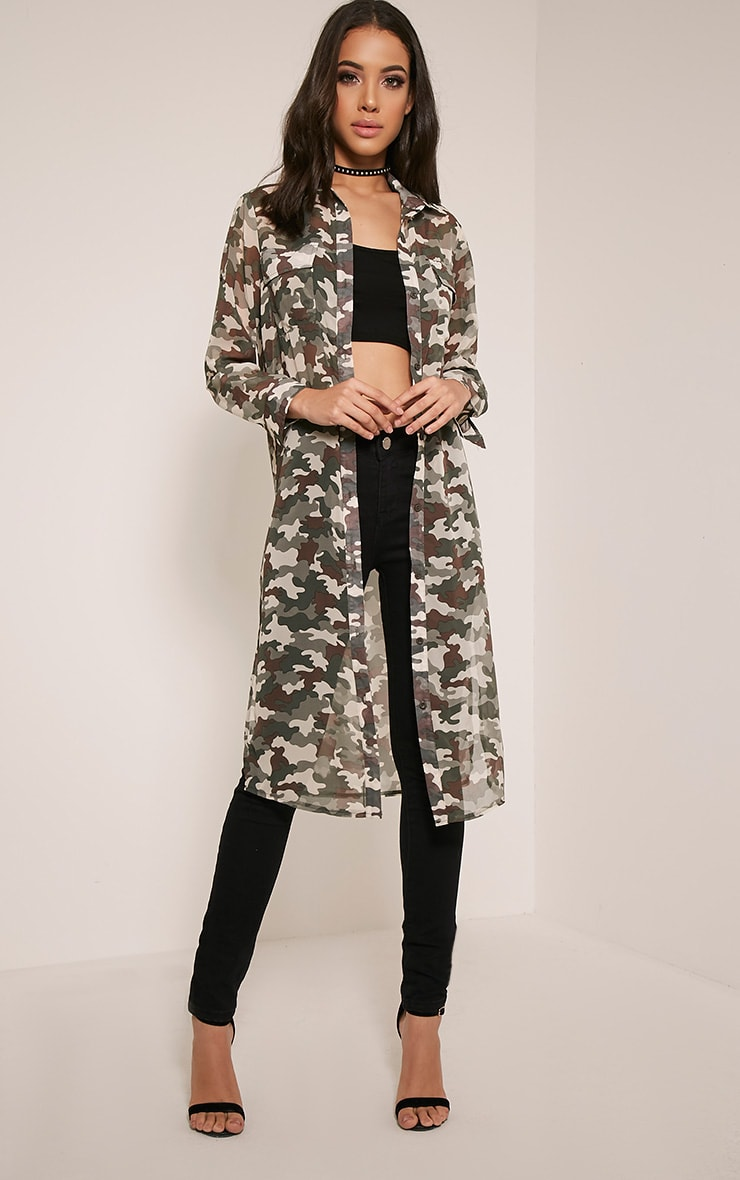 Tabia Khaki Camouflage Print Chiffon Longline Shirt 1