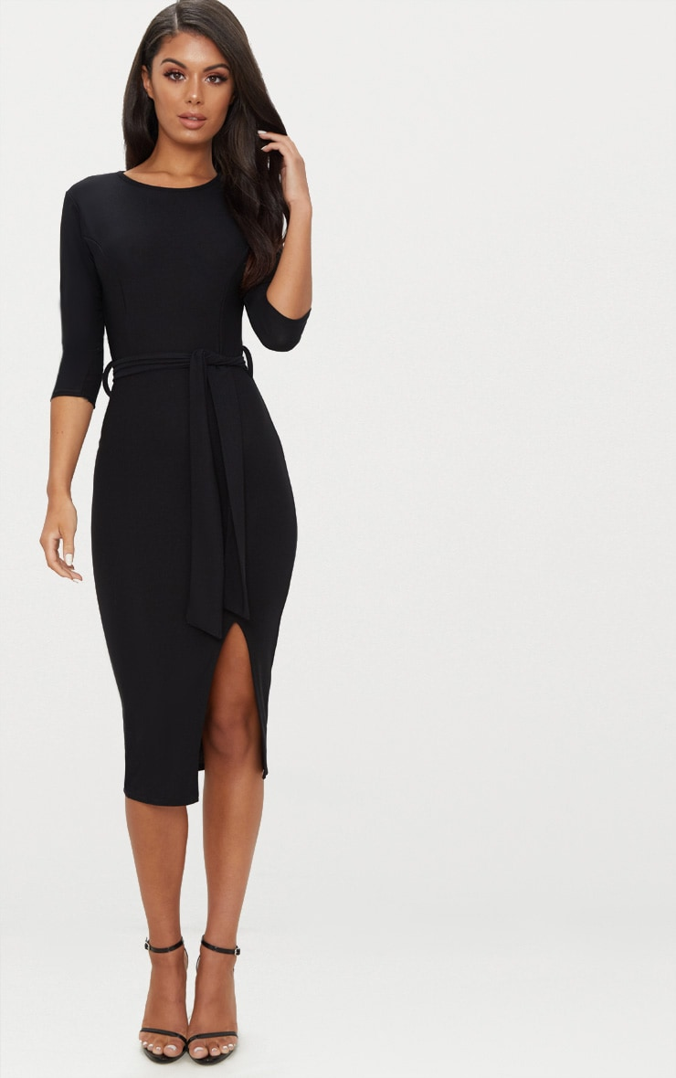 Black Tie Detail 3/4 Sleeve Midi Dress 1