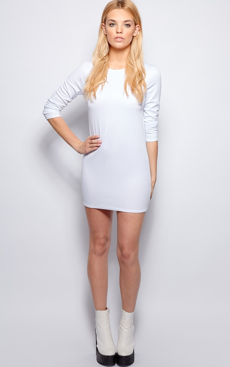 Zelda White Long Sleeved Scuba Dress 3