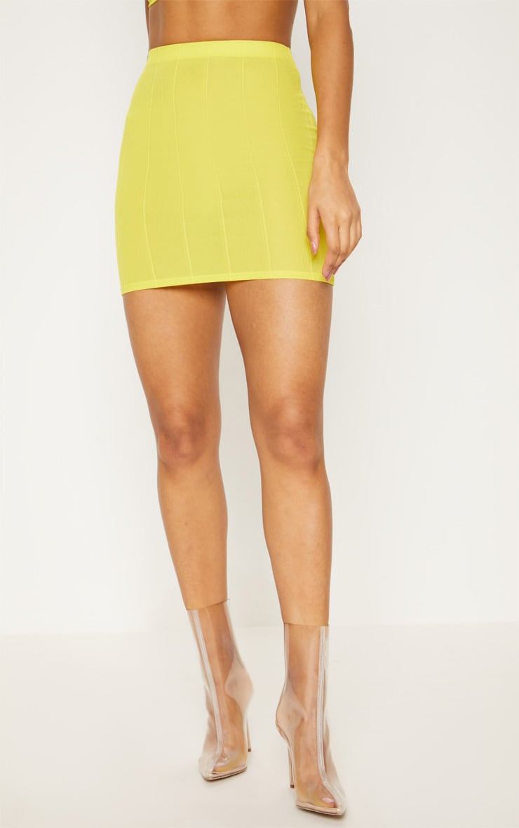 Yellow Bandage Mini Skirt  2
