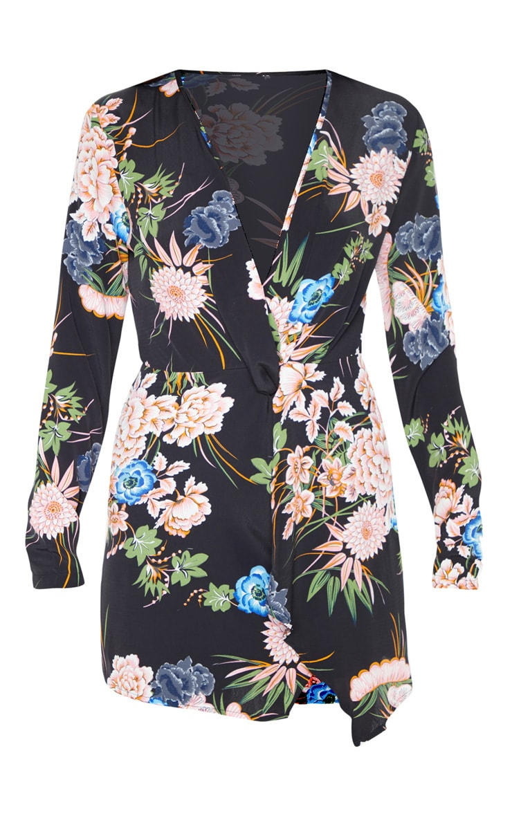 Black Floral Long Sleeve Wrap Dress 3