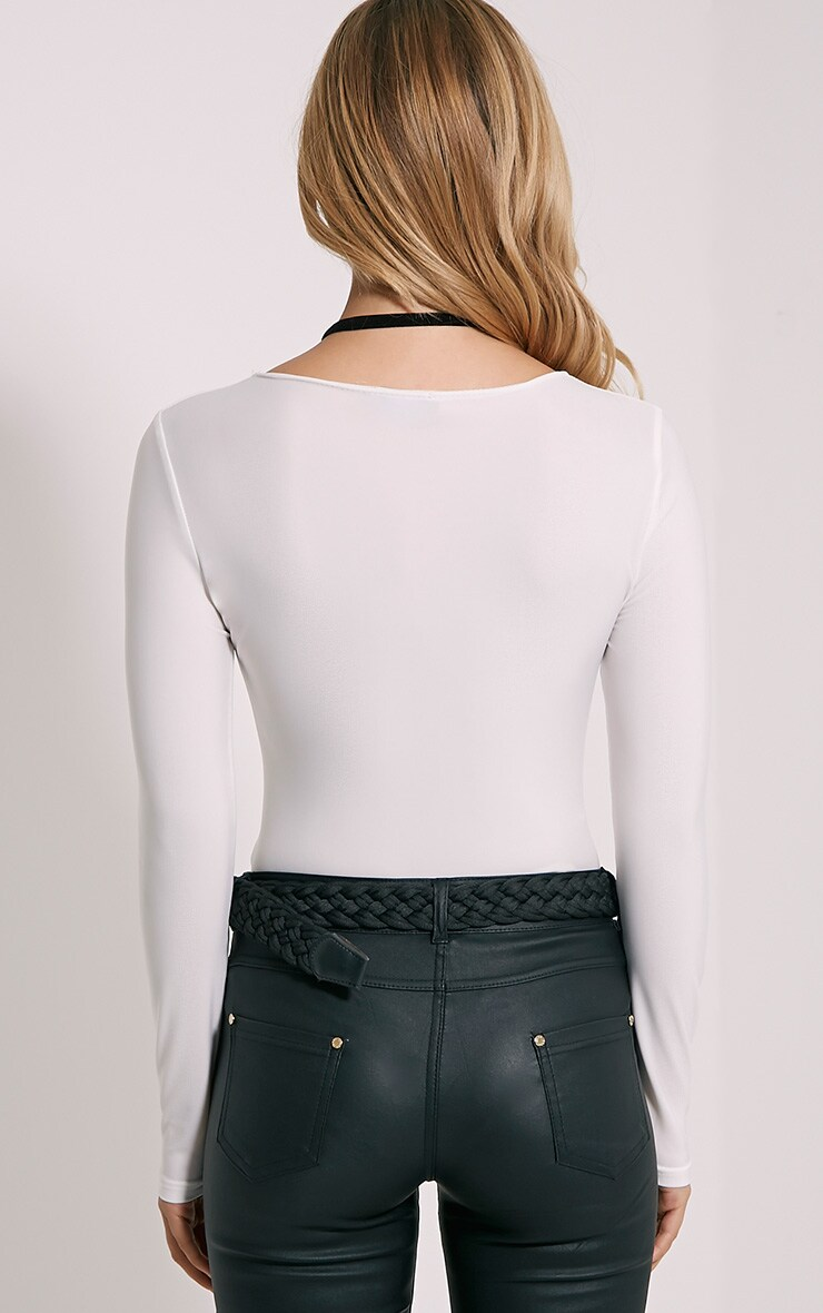 Enya White Lace Up Front Bodysuit 2