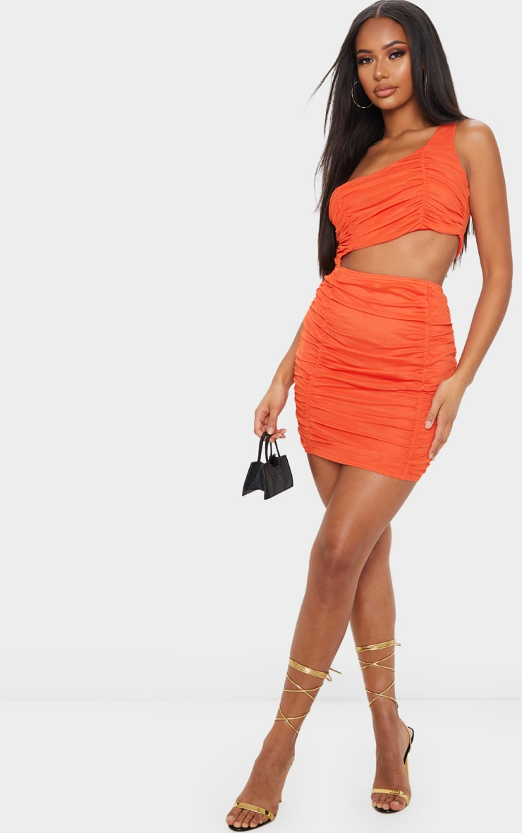 Bright Orange Ruched One Shoulder Cut Out Bodycon Dress 3