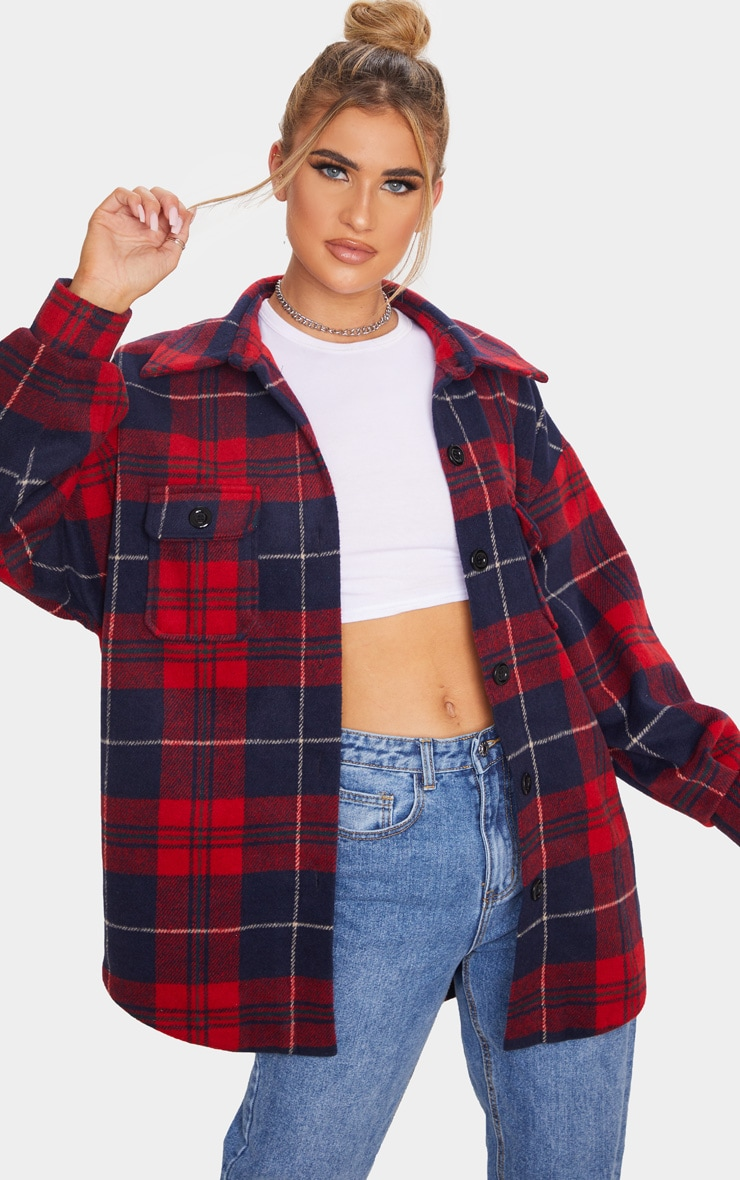Navy Check Oversized Shacket 1