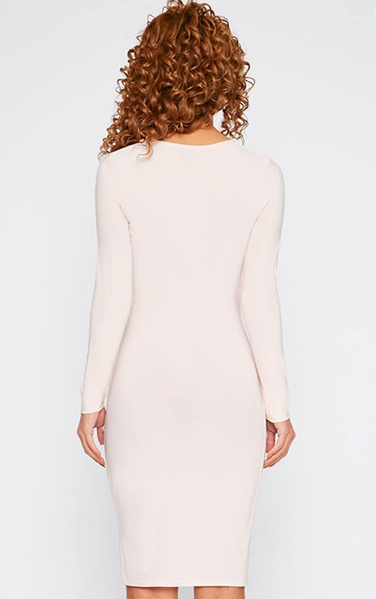 Iona Nude Slinky Wrap Over Gathered Mini Dress 3