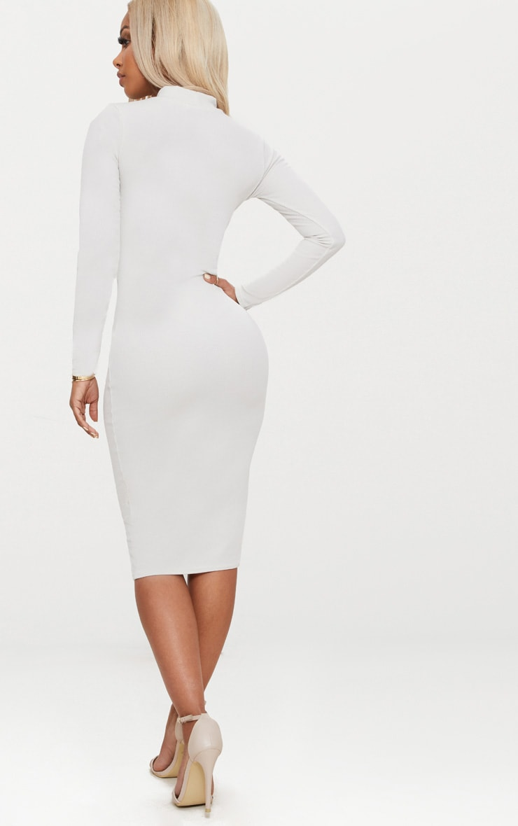 Shape Stone Ribbed High Neck Midi Dress 2