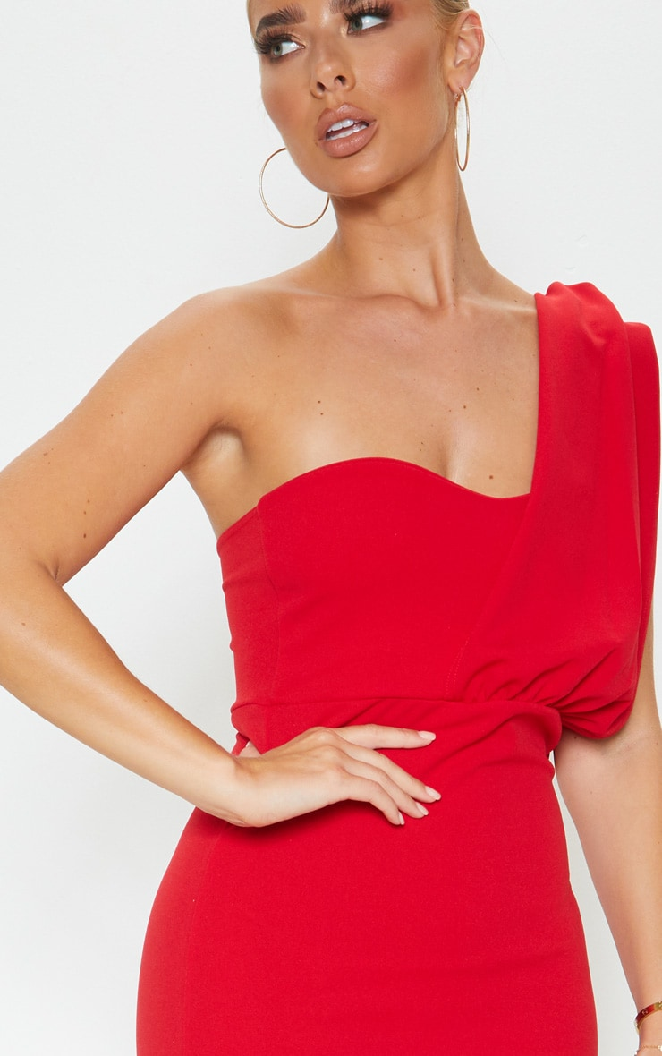 Red One Shoulder Draped Bodycon Dress 5