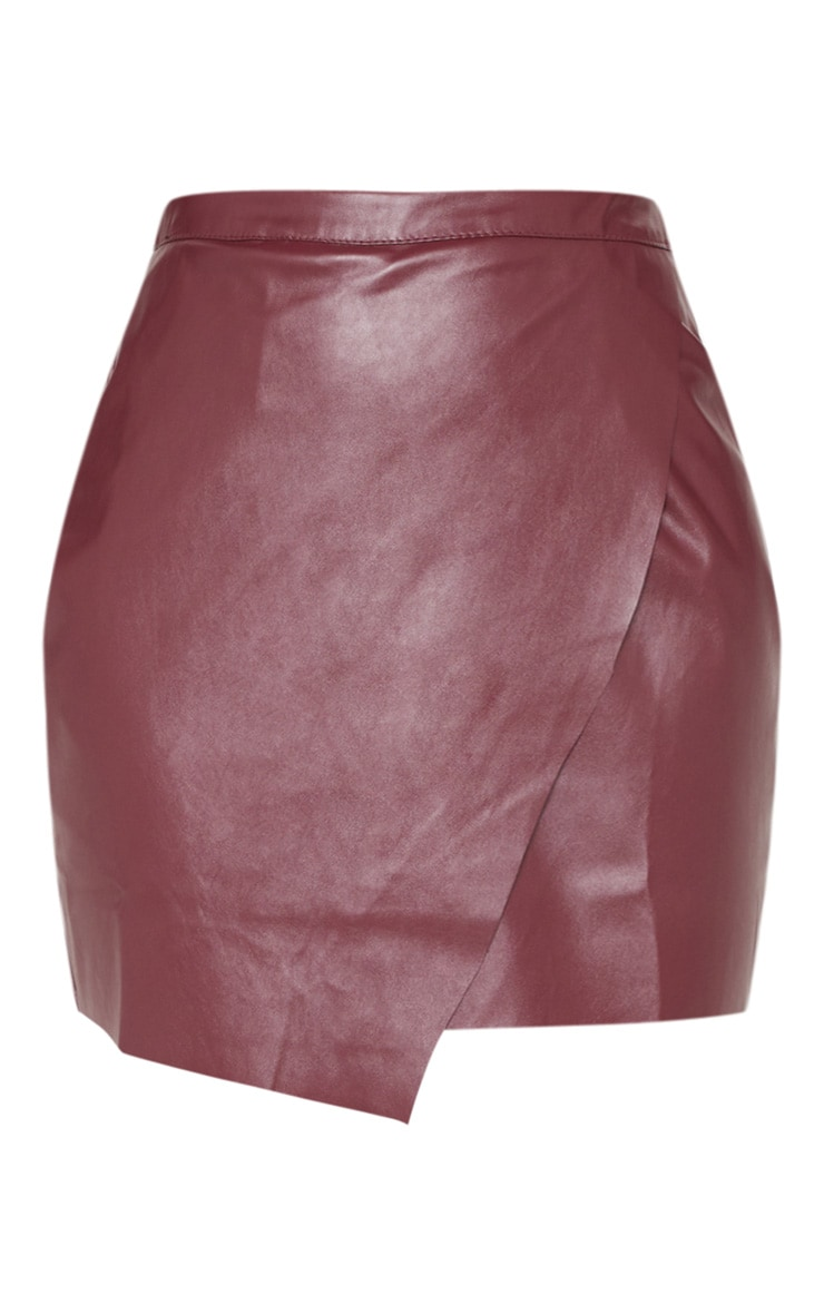 Brick Faux Leather Wrap Mini Skirt 3