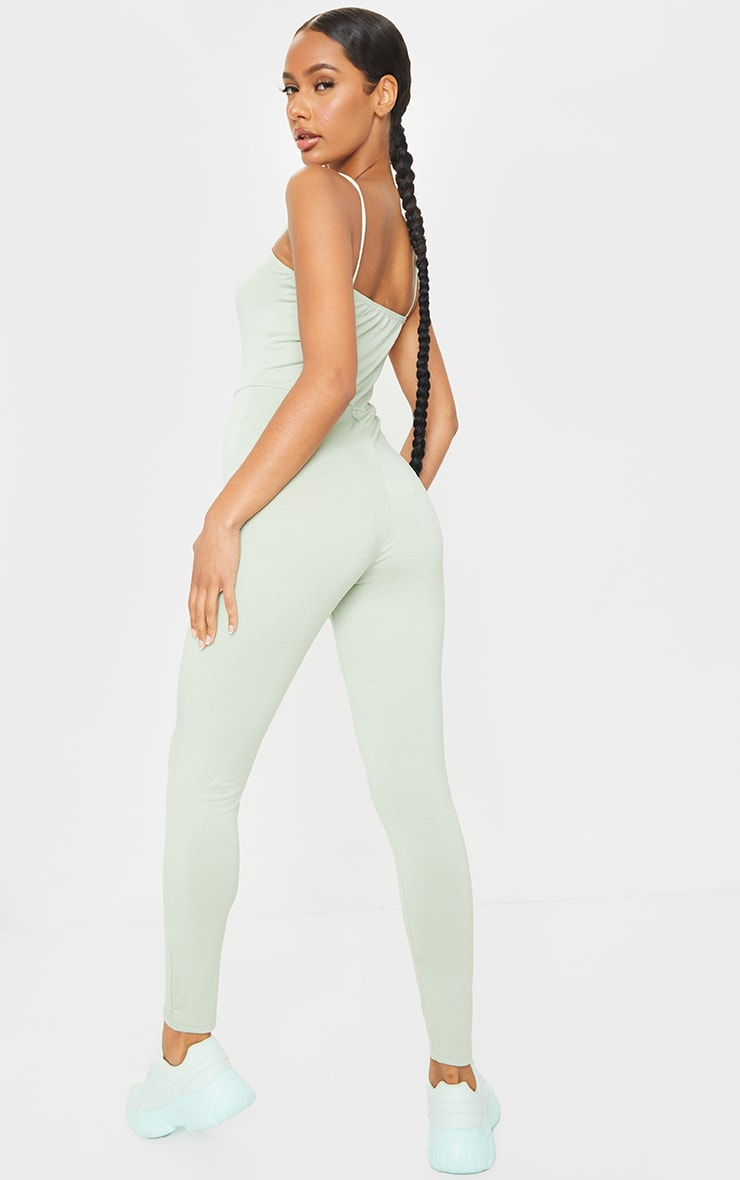 Sage Green Basic Strappy Jumpsuit 2