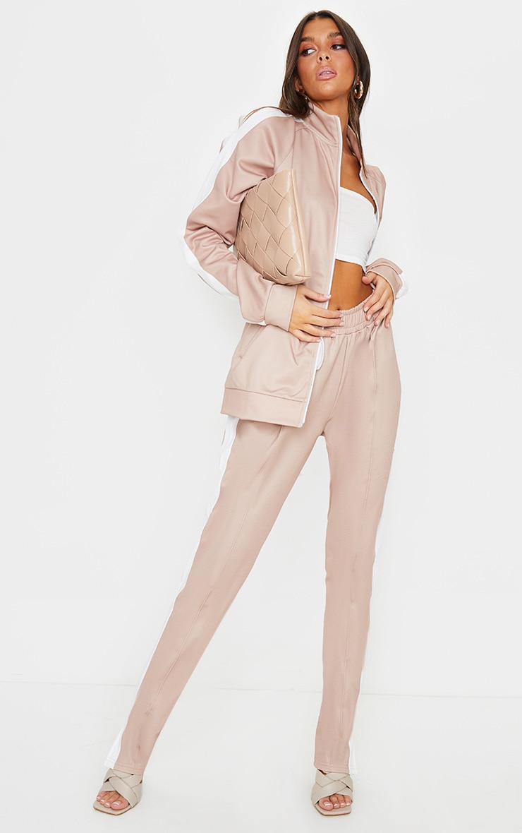 Taupe Cut Out Shoulder Detail Stripe Side Zip Through Sweat Top 3