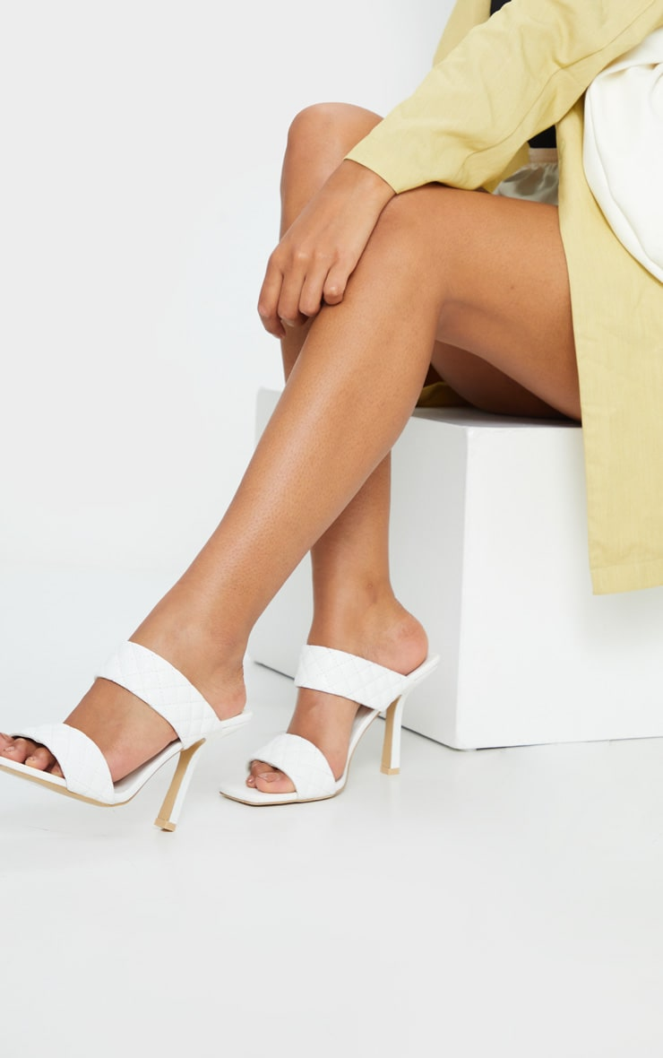 White Twin Strap Quilted Mule Heels 1