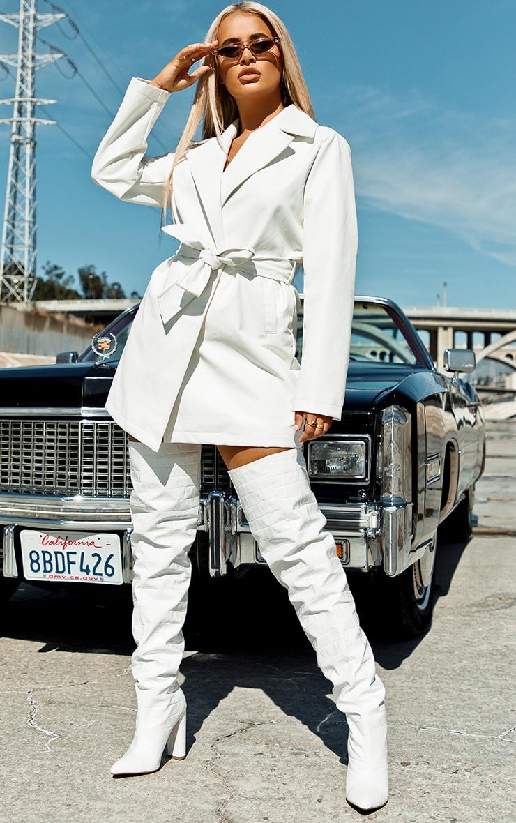 White Faux Leather Long Line Tie Waist Jacket 1