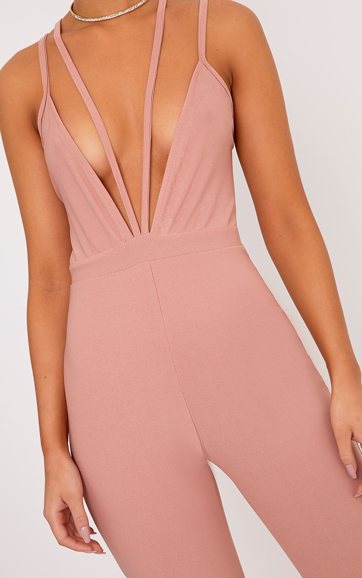 Fenna Dusty Coral Harness Crepe Jumpsuit  5
