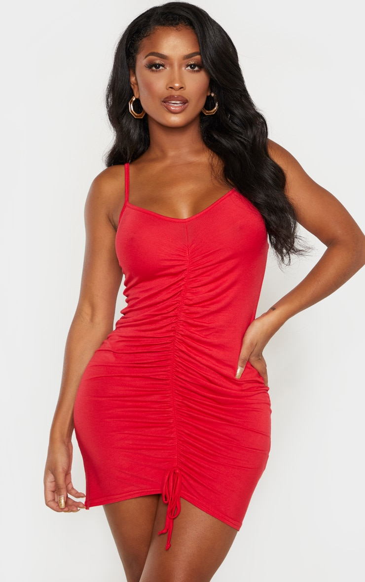 Shape Red Jersey Ruched Bodycon Dress  1