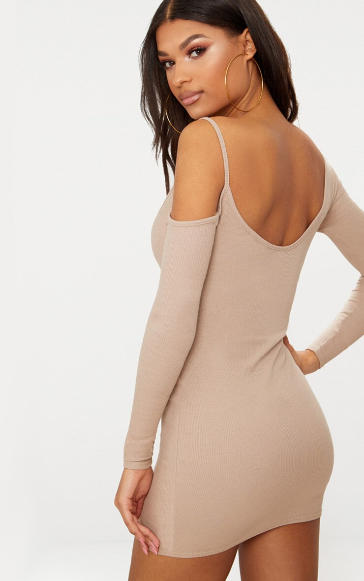 Stone Rib One Shoulder Bodycon Dress 2
