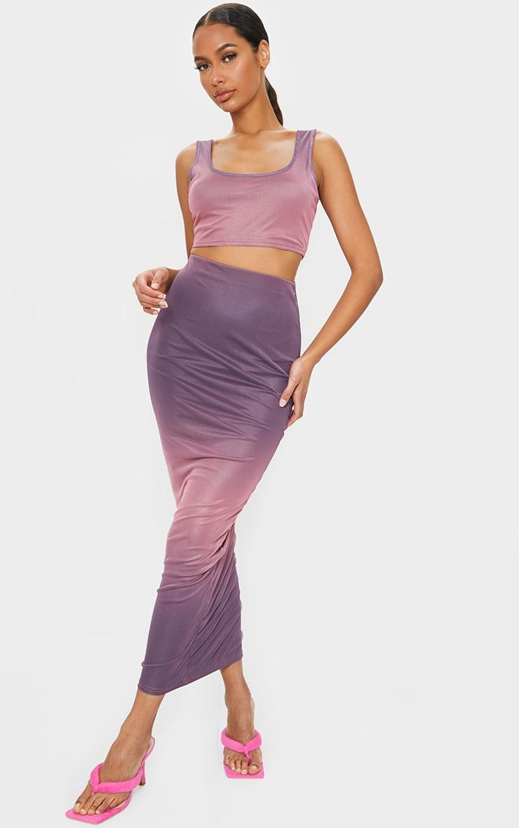 Mauve Mesh Overlay Midaxi Skirt 1