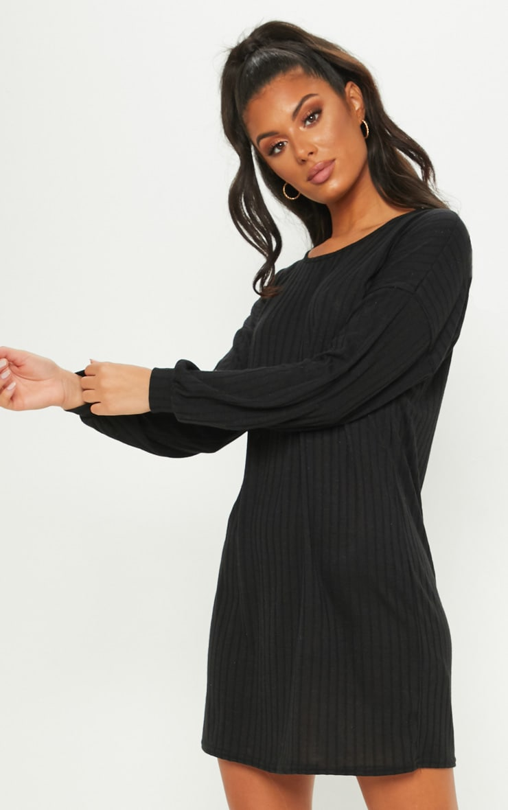 Black Wide Ribbed Oversized Jumper Dress 1