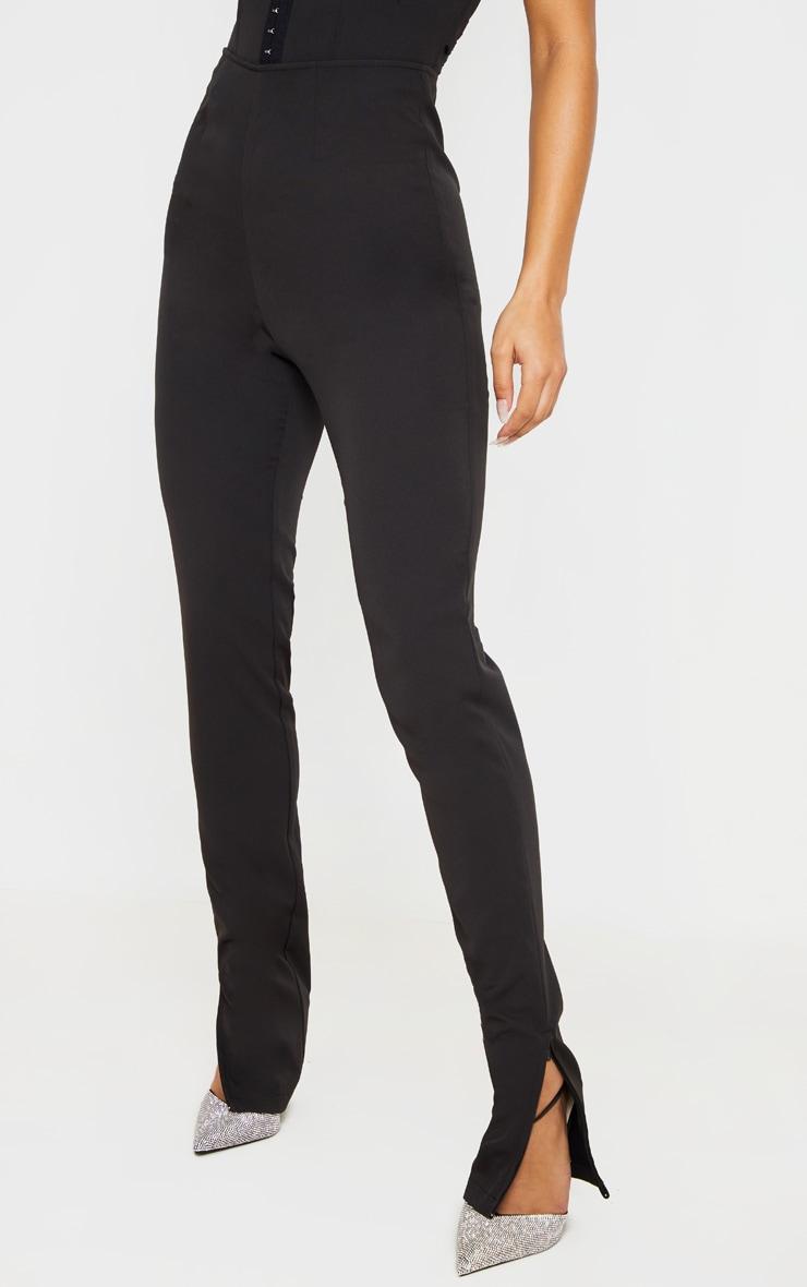 Black Woven High Waisted Split Hem Skinny Pants 3