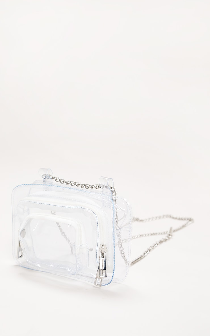 White Clear Pu Chain Belt Bag 1
