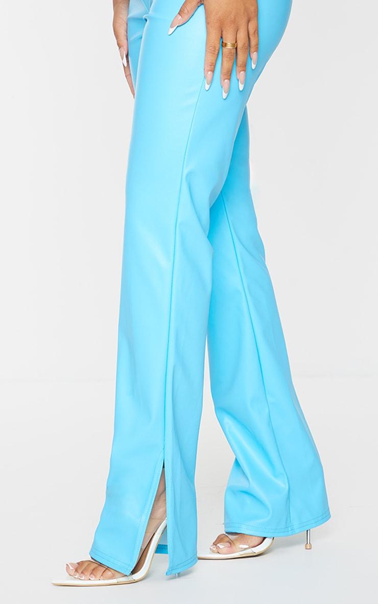 Petite Aqua Faux Leather Split Hem Pants 4