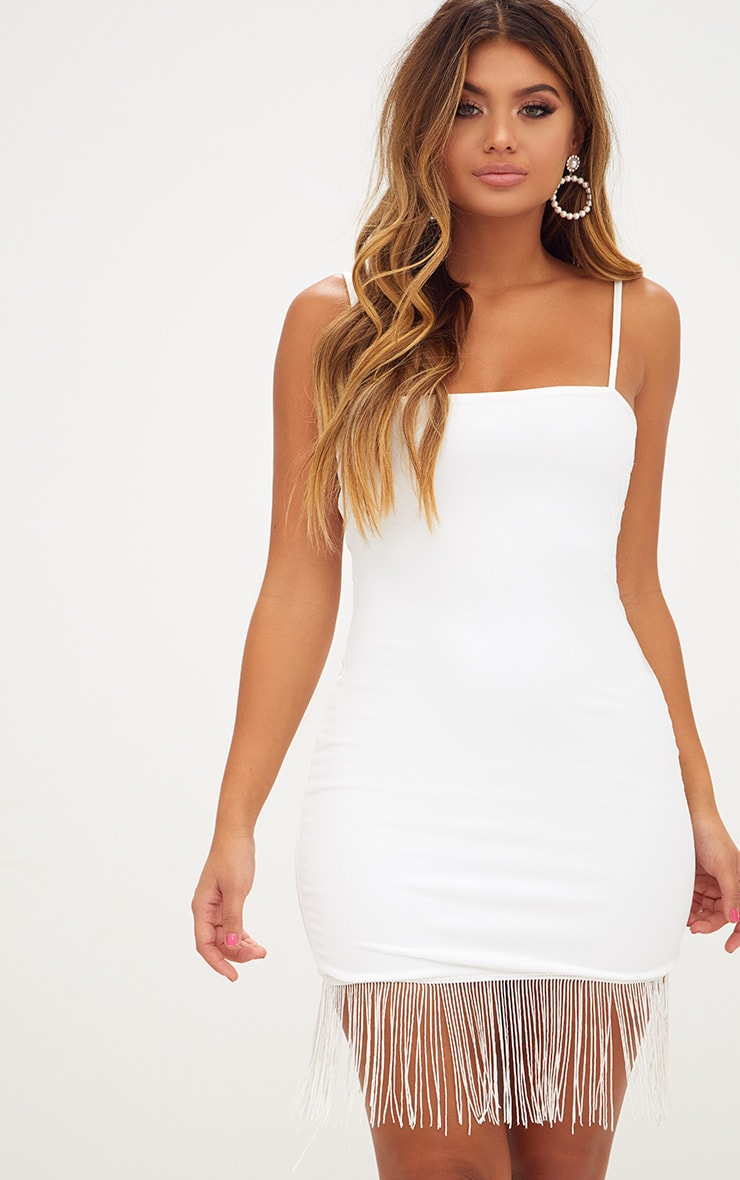White Strappy Tassel Hem Bodycon Dress 1
