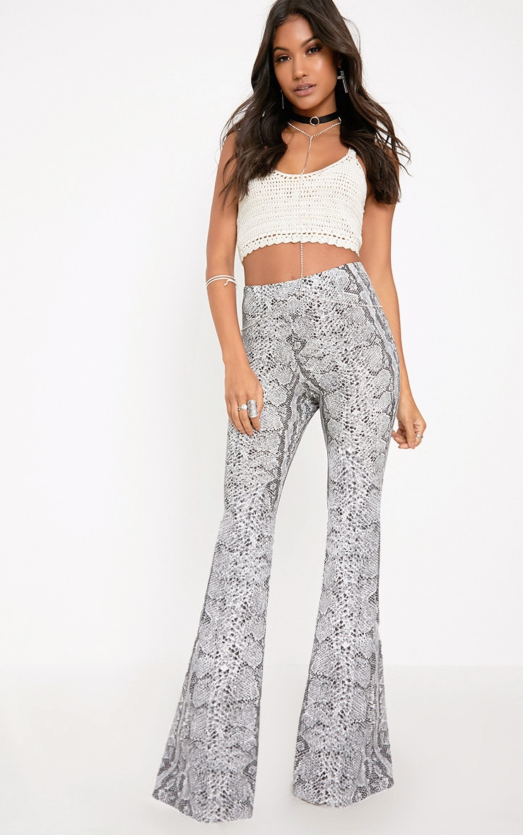 Madilyn Snake Print Flared Trousers 1