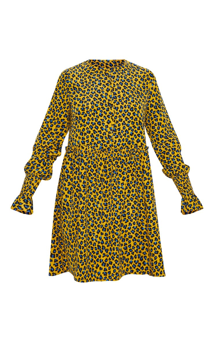 Mustard Leopard Print Covered Button Shirred Detail Smock Dress 3
