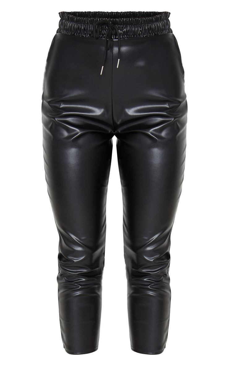Black Faux Leather Crop Skinny Pants 5