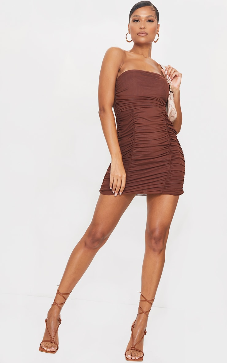 Chocolate Mesh Extreme Ruched Bandeau Bodycon Dress 3