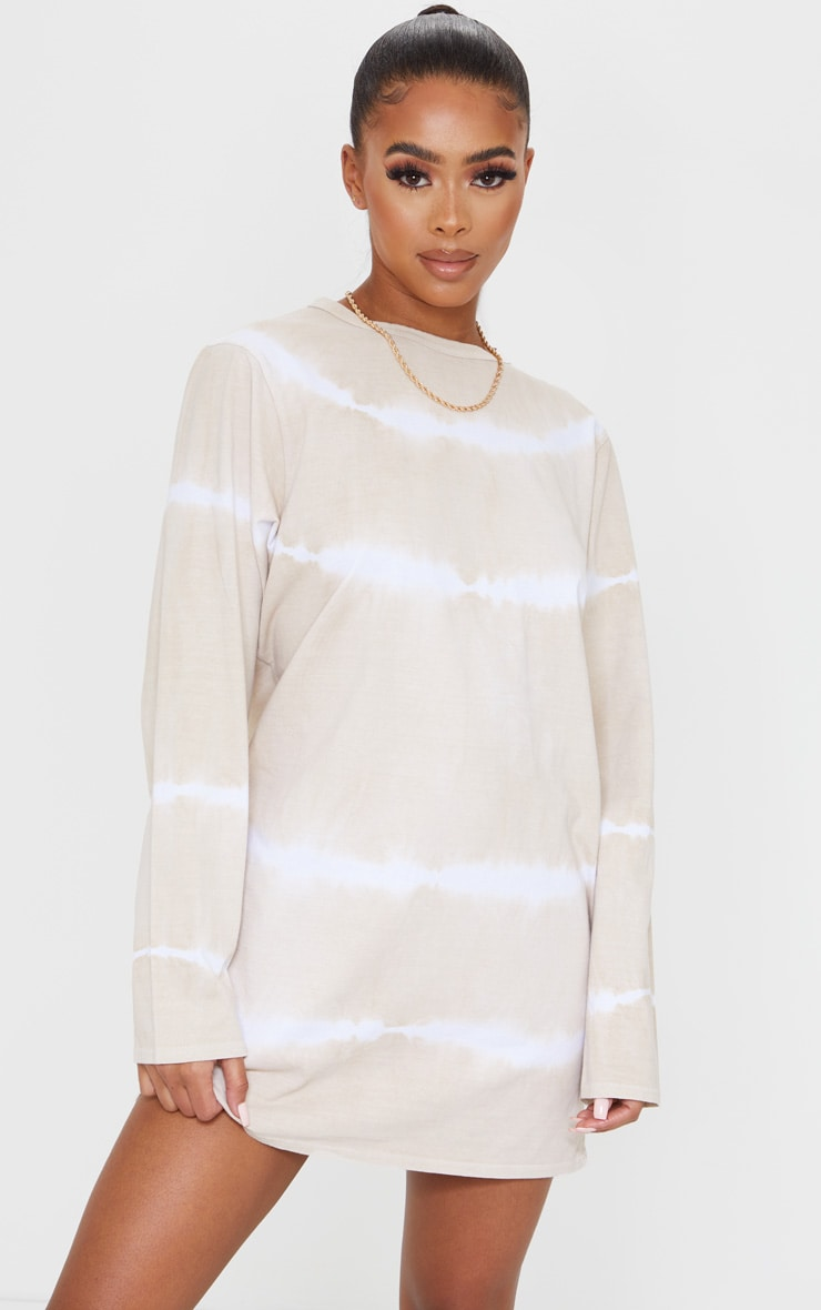 Beige Tie Dye Long Sleeve T Shirt Dress 1