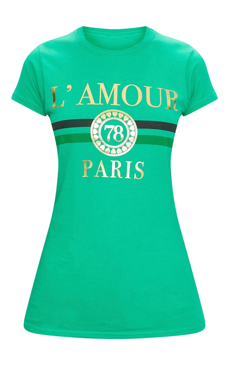 Green Lamour Slogan Foil Print Slogan Fitted T Shirt 3
