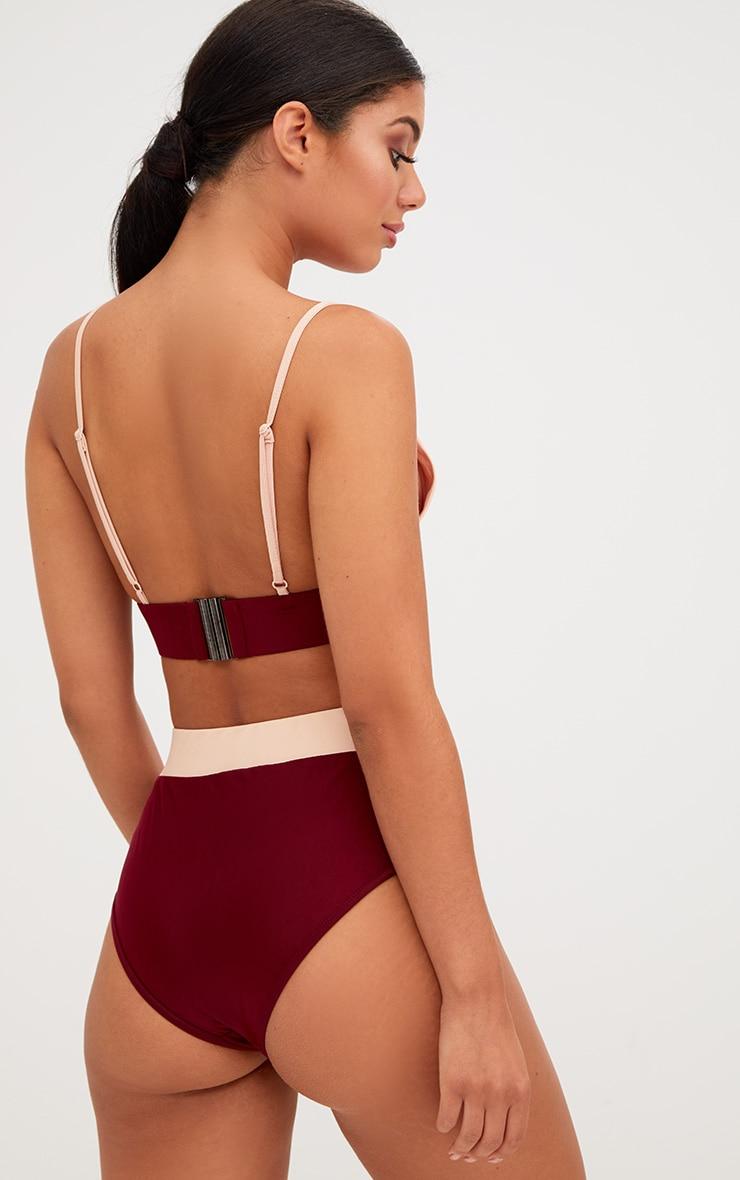 Burgundy Contrast Bikini Top 2