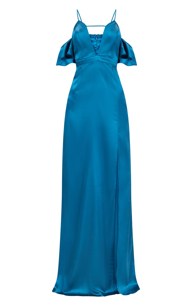 Teal Frill Sleeve Split Detail Satin Maxi Dress 3