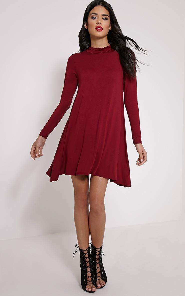 Basic Wine Long Sleeved Jersey Swing Dress 3