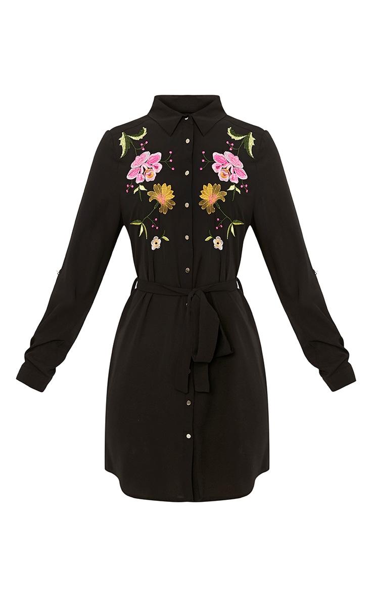 Erinie Black Embroidered Shirt Dress 3