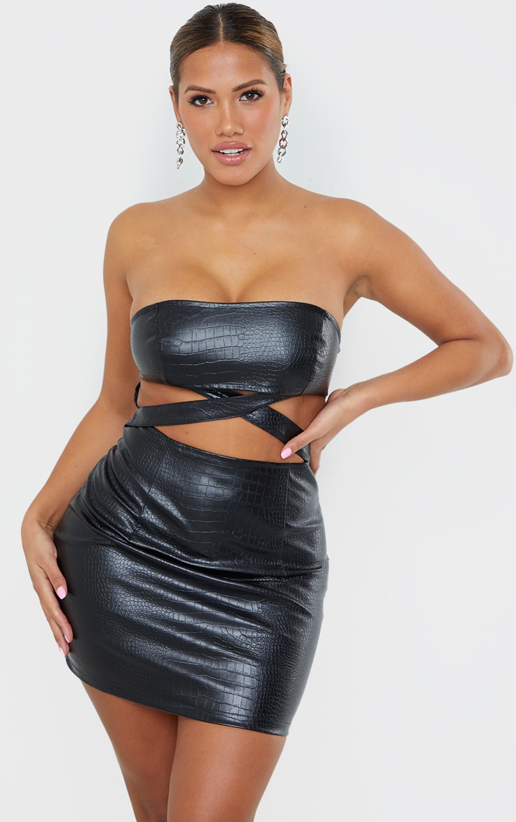 Shape Black Embossed Faux Leather Cut Out Bodycon Dress 1